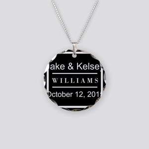 Personalized Black and White Necklace Circle Charm