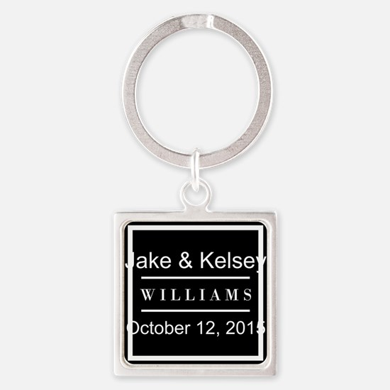 Personalized Black and White Famil Square Keychain