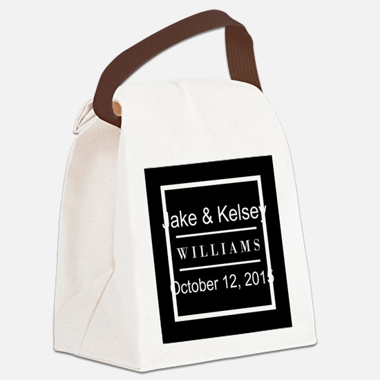 Personalized Black and White Fami Canvas Lunch Bag