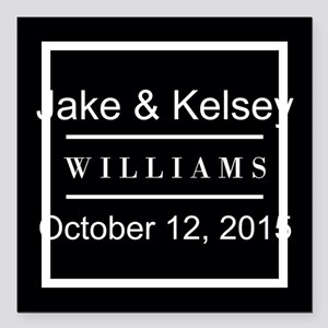 "Personalized Black and W Square Car Magnet 3"" x 3"""