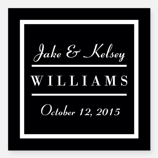 Personalized Black And W Square Car Magnet 3