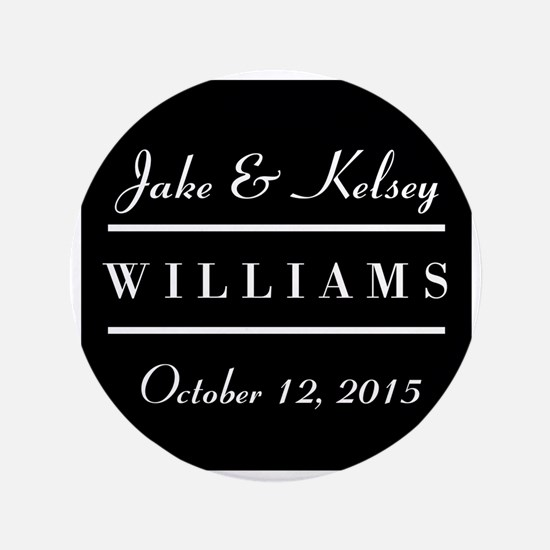 """Personalized Black and White Family Ke 3.5"""" Button"""