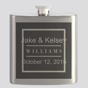 Personalized Black and White Family Keepsake Flask