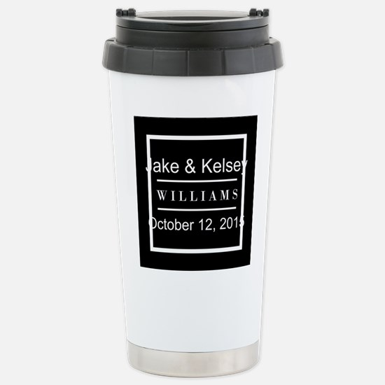 Personalized Black and Stainless Steel Travel Mug