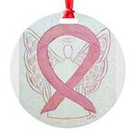 Pink Ribbon Angel Ornament