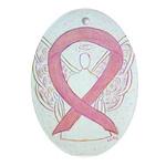 Pink Ribbon Angel Ornament (Oval)