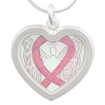 Pink Ribbon Angel Necklaces