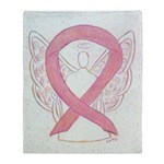 Pink Ribbon Angel Throw Blanket