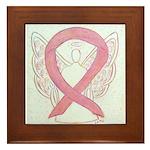 Pink Ribbon Angel Framed Tile