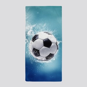 Soccer Water Splash Beach Towel