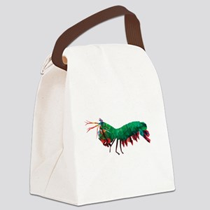 Geometric Abstract Peacock Mantis Canvas Lunch Bag