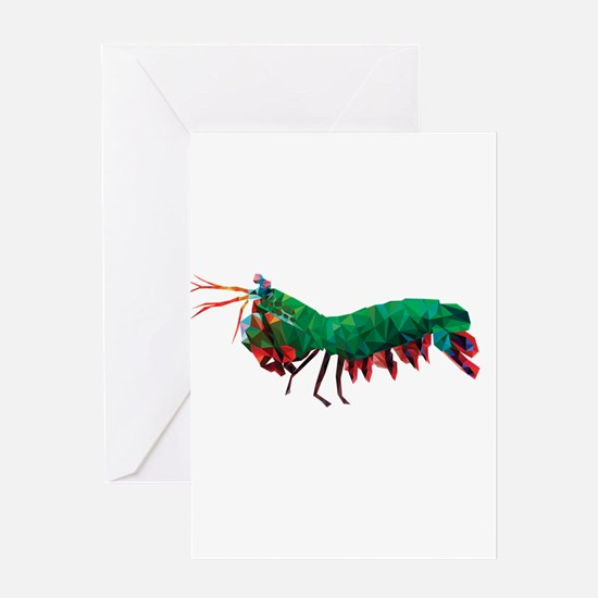 Geometric Abstract Peacock Mantis S Greeting Cards