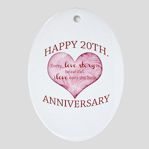 20th. Anniversary Ornament (Oval)