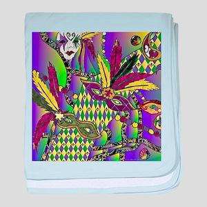 Mardi Gras Feather Masks baby blanket