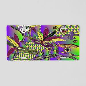 Mardi Gras Feather Masks Aluminum License Plate