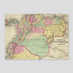 Vintage Map of Venezuela, Ecuador, 5'x7'Area Rug