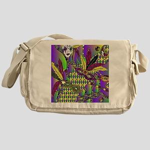 Mardi Gras Feather Masks Messenger Bag