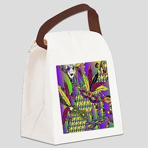 Mardi Gras Feather Masks Canvas Lunch Bag
