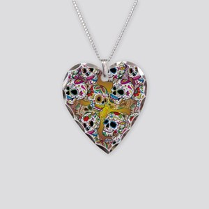 Sugar Skulls Necklace Heart Charm