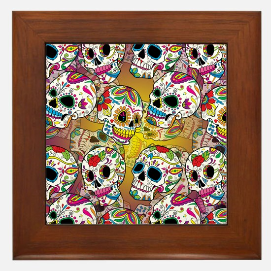 Sugar Skulls Framed Tile