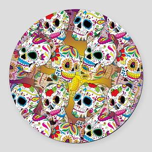 Sugar Skulls Round Car Magnet