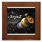 Space ship and stars Framed Tile