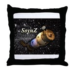 Space ship and stars Throw Pillow