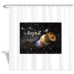 Space ship and stars Shower Curtain