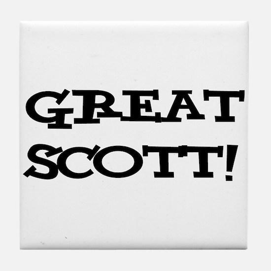 Great Scott 2 (black) Tile Coaster