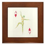 Ace Of Hearts Playing Card Design Framed Tile