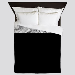 Starry Night - Black and White Monochr Queen Duvet