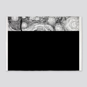 Starry Night - Black and White Mono 5'x7'Area Rug