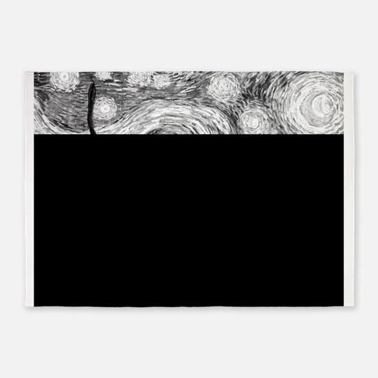 Starry Night - Black and White Mono 5'x7'Area Rug
