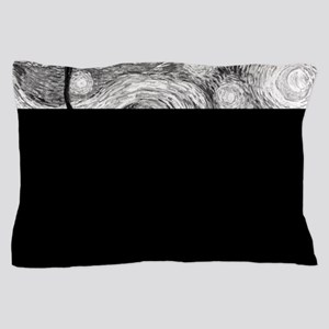 Starry Night - Black and White Monochr Pillow Case