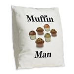 Muffin Man Burlap Throw Pillow