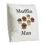 Muffin Man Burlap Throw Pillow
