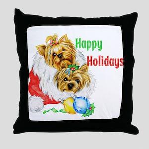 xmas puppies Throw Pillow