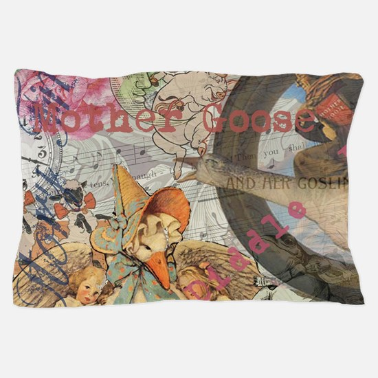 Vintage Mother Goose Collage Pretty Fairy tale Pil