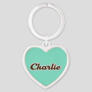 Charlie Aqua Heart Keychain