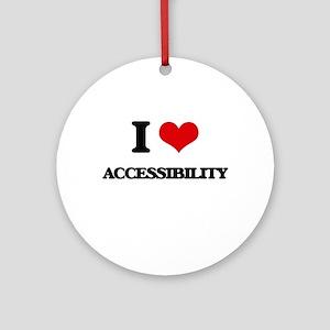 I Love Accessibility Ornament (Round)