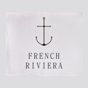 French Riviera Sailing Anchor Throw Blanket