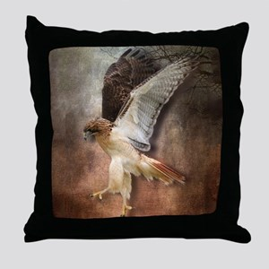 Red Tail Hawk in Vintage Light Throw Pillow