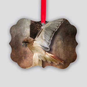 Red Tail Hawk in Vintage Light Picture Ornament