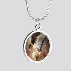 Red Tail Hawk in Vintage Lig Silver Round Necklace