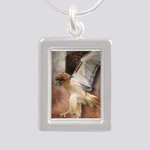 Red Tail Hawk in Vintage Silver Portrait Necklace