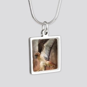 Red Tail Hawk in Vintage L Silver Square Necklace