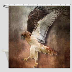 Red Tail Hawk in Vintage Light Shower Curtain