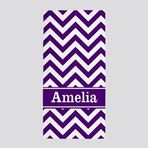Purple Chevron Personalized Beach Towel