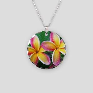 Maui Tropical Flower Necklace Circle Charm