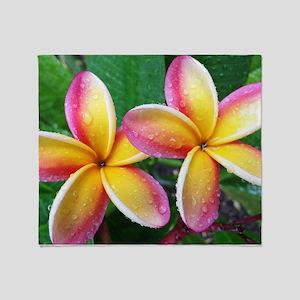 Maui Plumeria Tropical Flower Throw Blanket